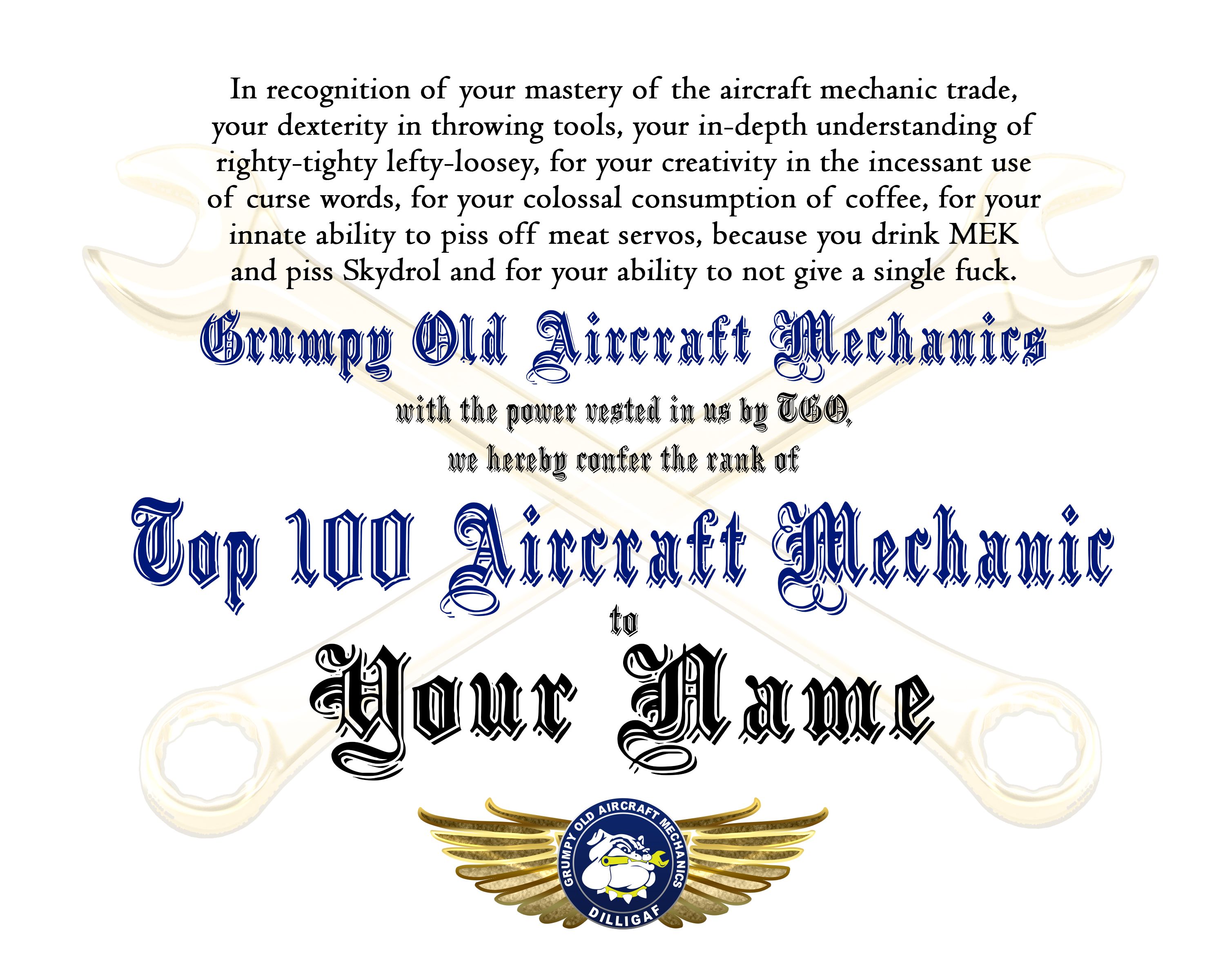 Top 100 Aircraft Mechanic Award Certificate (frame not included)