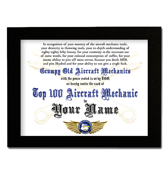 new top 100 aircraft mechanic award certificate frame not included